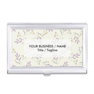 Simple pastel purple vintage botanical floral business card holder