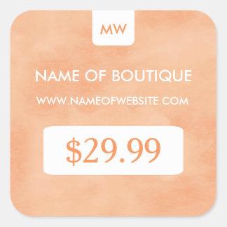 Simple Peach Chic Boutique Monogram Price Tags Square Sticker