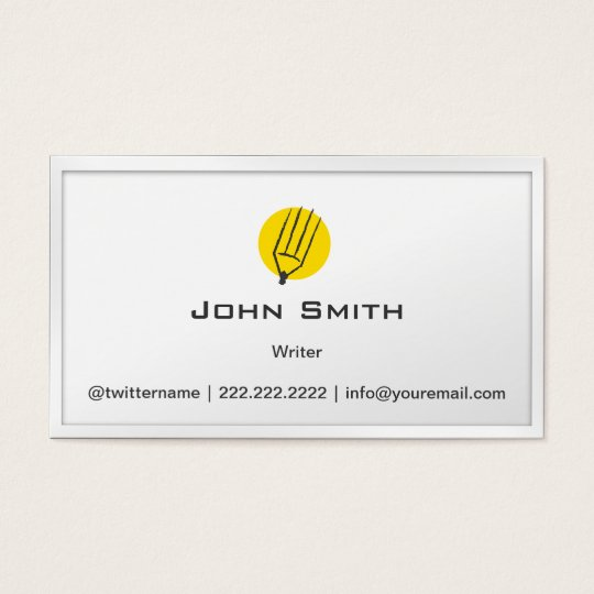 Simple Pencil Yellow Dot Writer Business Card