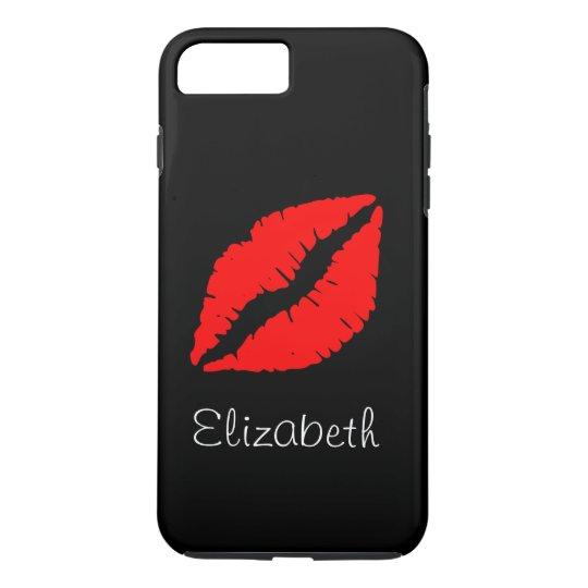 Simple Personalised Black Red Lips iPhone 8 Plus/7