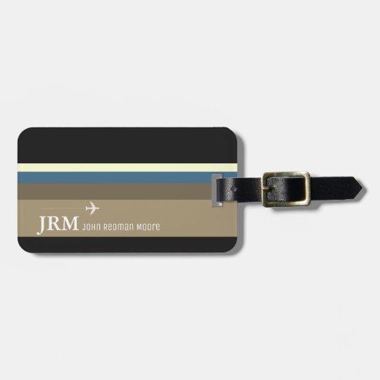 simple, personalised elegant bag travel striped luggage tag