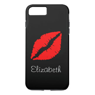 Simple Personalized Black Red Lips iPhone 7 Plus Case