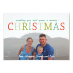 Simple photo Family Christmas Card mod colours Personalized Invitations