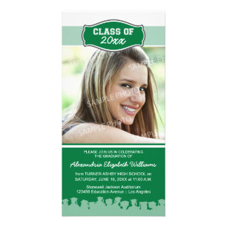 Simple Photo Graduation Announcement (green) Customized Photo Card