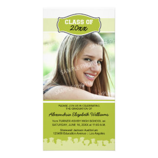 Simple Photo Graduation Announcement (lime) Photo Greeting Card