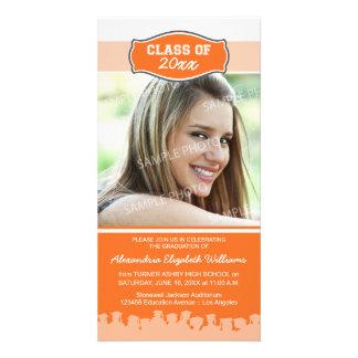 Simple Photo Graduation Announcement (orange) Photo Greeting Card