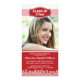 Simple Photo Graduation Announcement (red) Picture Card