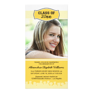 Simple Photo Graduation Announcement (yellow) Photo Greeting Card