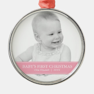 Simple Pink and White Custom Photo Christmas Christmas Ornament