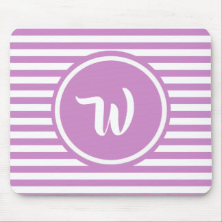 Simple Pink and White Stripes Striped Initials Mouse Mat