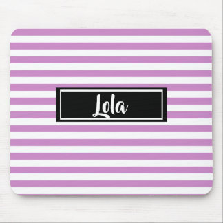 Simple Pink and White Stripes Striped Name Mouse Mat