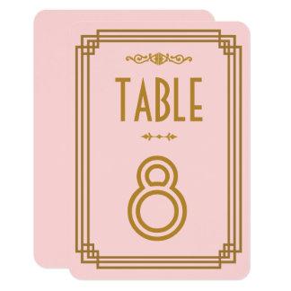 Simple Pink Art Deco Wedding Table Numbers 9 Cm X 13 Cm Invitation Card