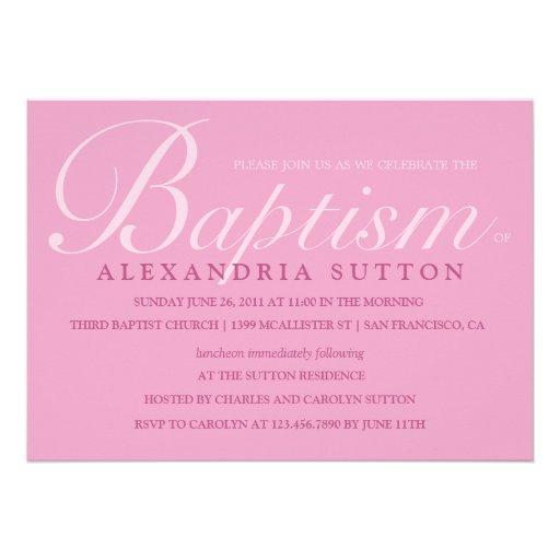 Simple Pink Baptism/Christening Invite