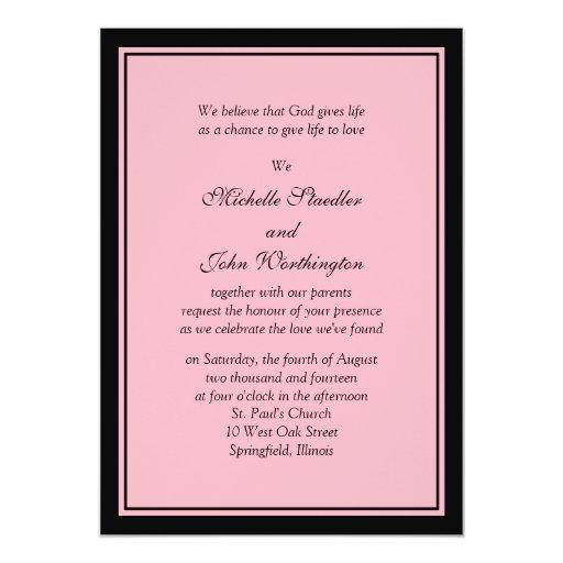 Simple Pink & Black Wedding Invitation Template
