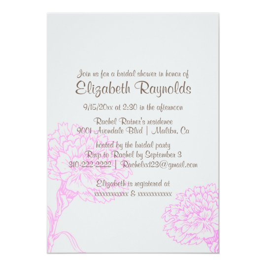 Simple Pink & Brown Bridal Shower Invitations