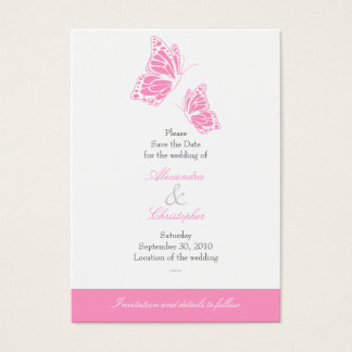 Simple Pink Butterfly Save The Date Wedding Mini Business Card