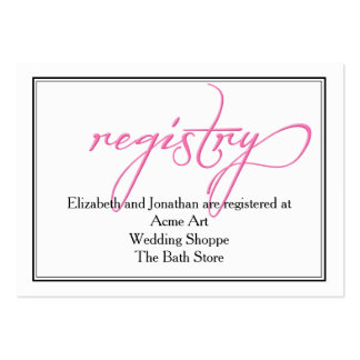 Simple Pink Calligraphy Wedding Registry Card Pack Of Chubby Business Cards