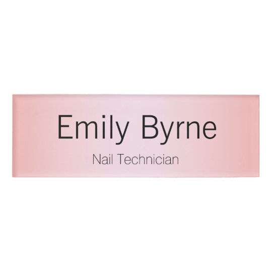 Simple Pink employee Staff Magnetic Name Tag Badge