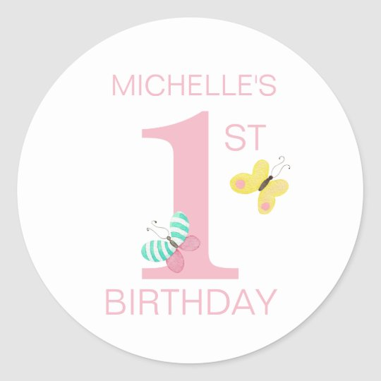 Simple Pink First Birthday with Butterfly and Name