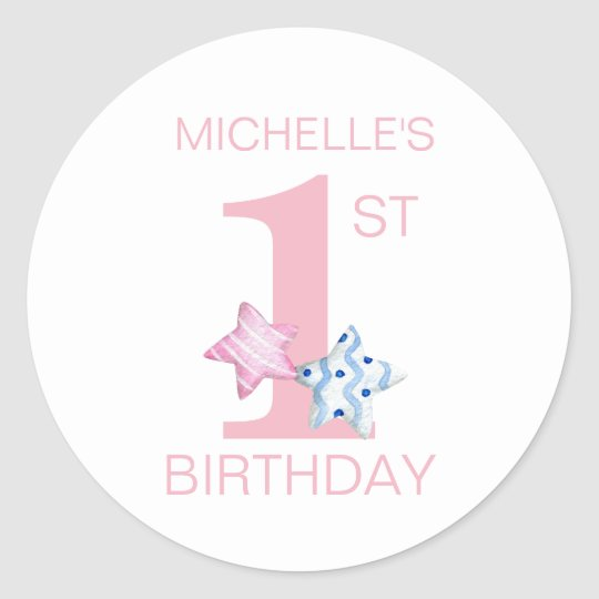 Simple Pink First Birthday with Stars and Name