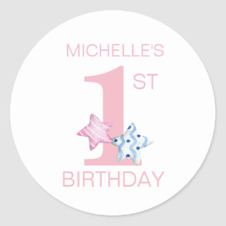 Simple Pink First Birthday with Stars and Name Round Sticker