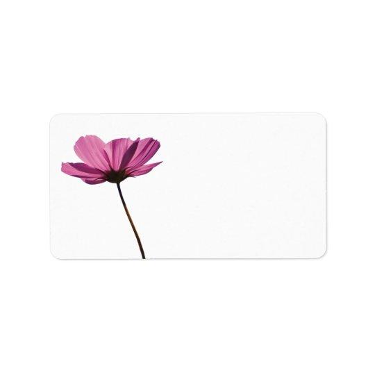 Simple pink flower label address label