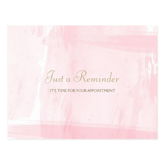 Simple Pink Gold Watercolor Appointment Reminder Postcard