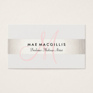 Simple Pink Monogram Modern FAUX Silver Striped