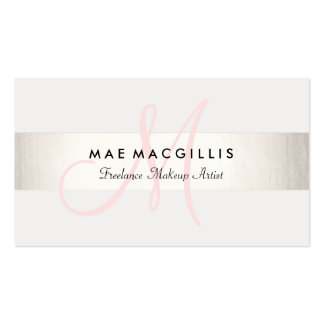 Simple Pink Monogram Modern FAUX Silver Striped Pack Of Standard Business Cards
