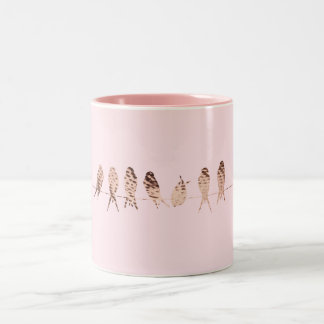 Simple Pink Mug with Copper Birds On Wire Design