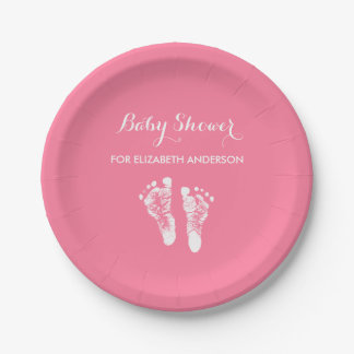 Simple Pink Newborn Footprints Girl Baby Shower 7 Inch Paper Plate
