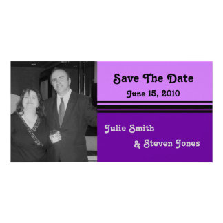 simple pink purple save the date photo card template