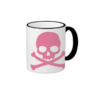 SImple Pink Skull and Crossbones Coffee Mug