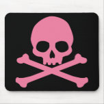 SImple Pink Skull and Crossbones Mousepads