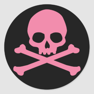 SImple Pink Skull and Crossbones Round Sticker
