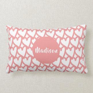 Simple Pink Touching Hearts Pattern   Monogram Lumbar Cushion
