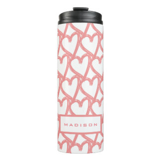 Simple Pink Touching Hearts Pattern   Personalised Thermal Tumbler