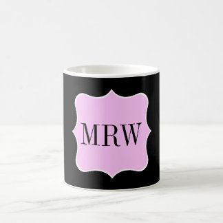 Simple Pink White Black Monogram Scroll Border Coffee Mug