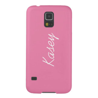 Simple Pink & White Your Name Personalized Galaxy S5 Cover