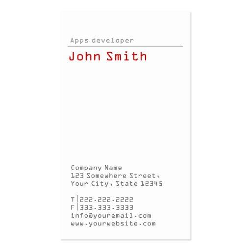 Simple Plain Apps developer Business Card