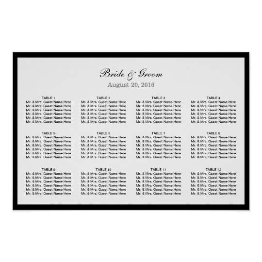 Simple Plain Black Border Wedding Seating Chart