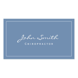 Simple Plain Blue Chiropractor Business Card