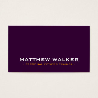 SIMPLE plain bold modern dark aubergine orange Business Card