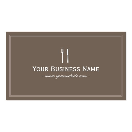 Simple Plain Brown Dining/Catering Business card