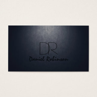 Simple Plain Dark Blue Custom Monogram Card