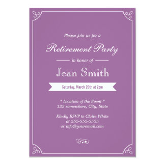 "Simple Plain Lavender Retirement Party Invitations 5"" X 7"" Invitation Card"