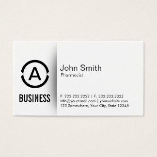 Simple Plain Monogram Pharmacist Business Card