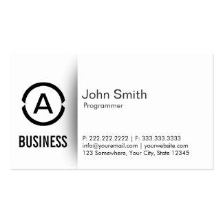 Simple Plain Monogram Programmer Business Card