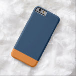 Simple Plain Navy Blue Orange Solid Colour Barely There iPhone 6 Case