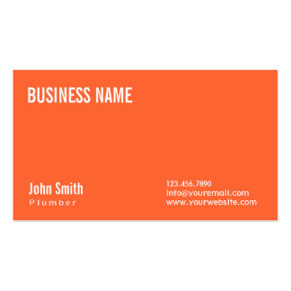 Simple Plain Orange Plumbing Business Card